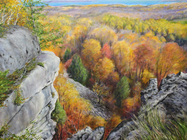 painting of view of valley and rock outcrop