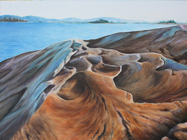 painting of rocky shore and lake in distance