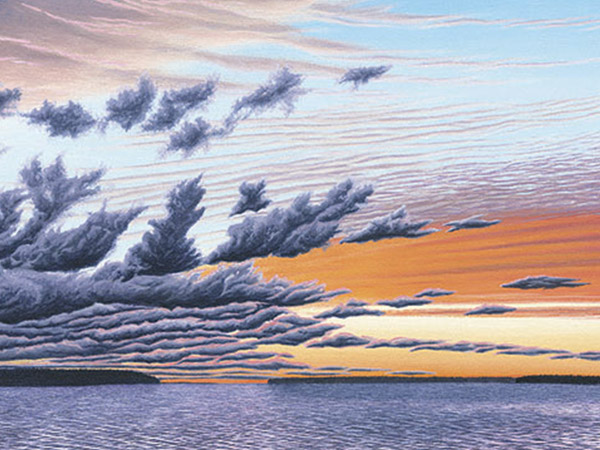 painting of clouds at sunset over the lake