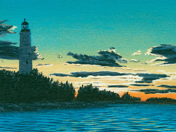 painting of lighthouse at sunset