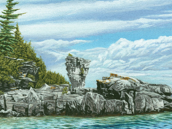 painting of Flowerpot island view from the water