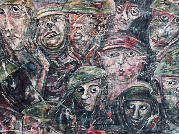 painting of soldiers wearing helmets