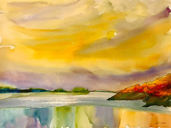 watercolour painting at sunset