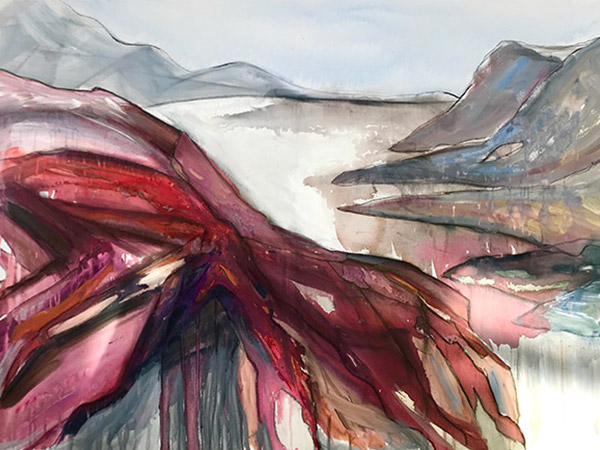 watercolour landscape painting hills and lake