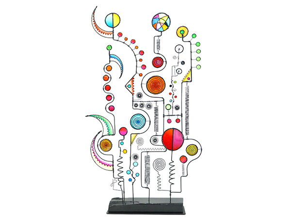 whimsical sculpture with wire and colour inserts