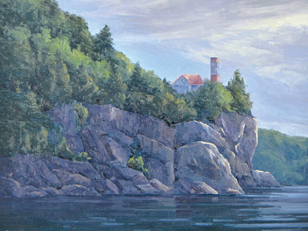 Oil painting of rocky shore of Flower Pot Island