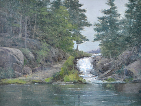 Oil painting of small waterfall and evergreen trees