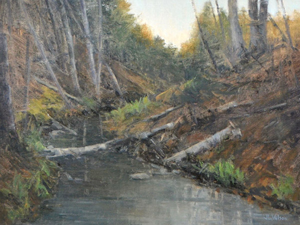oil painting of a river flowing through a forest
