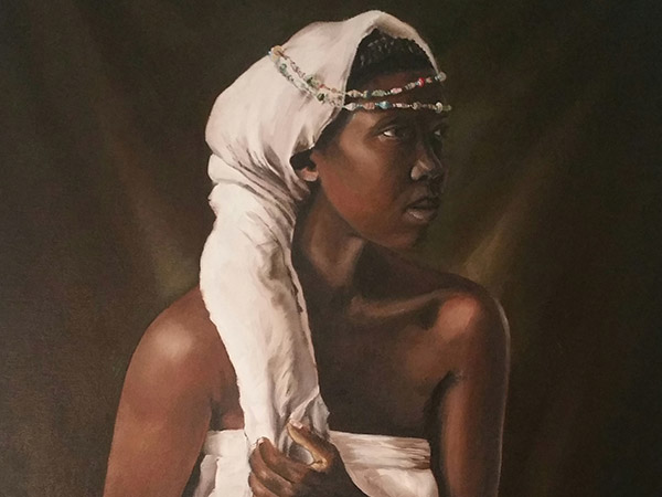 painting of a black woman wearing traditional attire