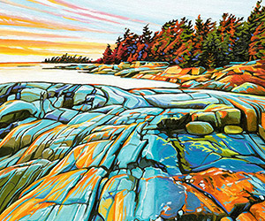 Oil painting of rocks and trees along the lakeshore