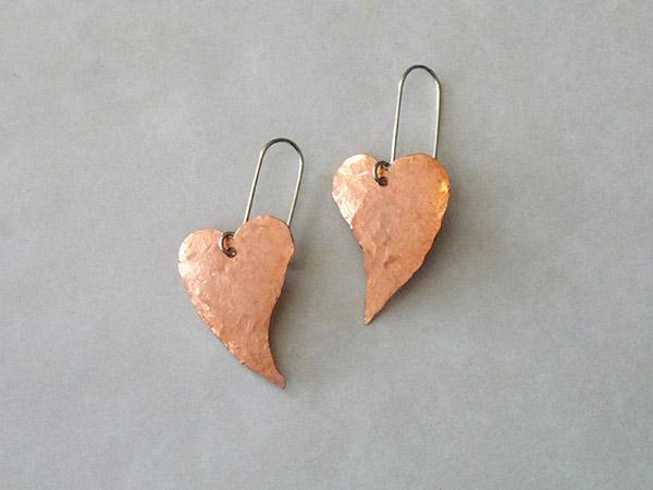 hammered copper heart earrings