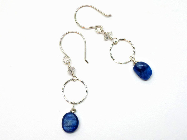 silver earrings with blue stones