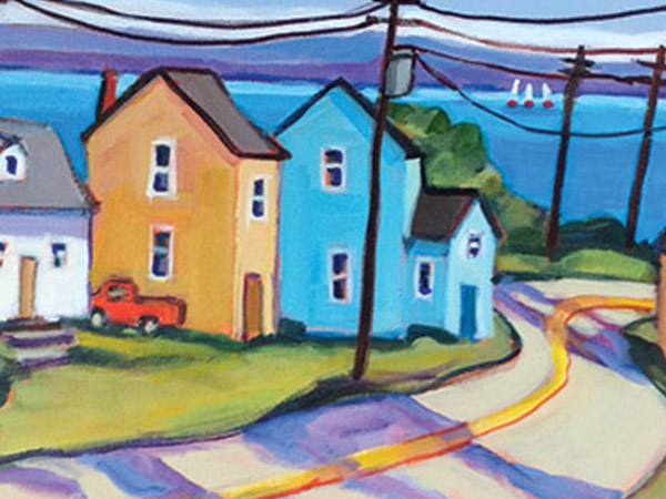 cheerful painting of simple houses and lake in background
