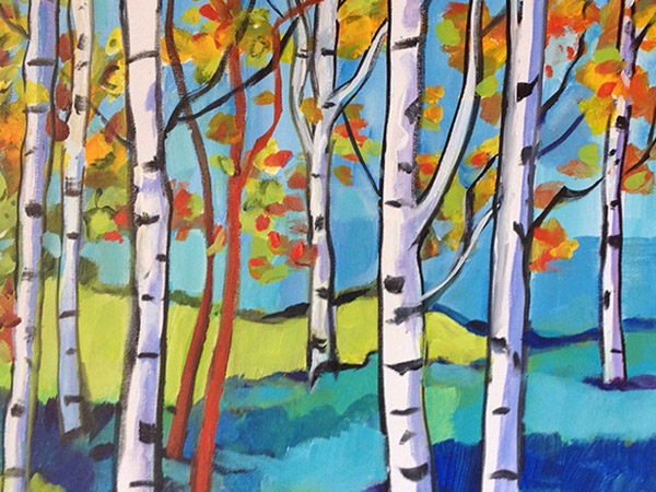 cheerful painting of birch trees in fall