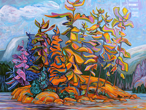 painting of colourful trees on an island