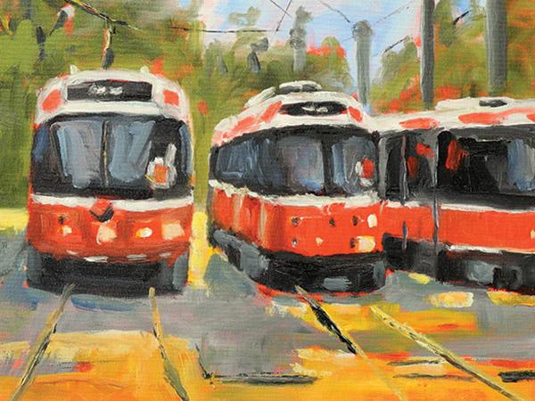 painting of three toronto street cars.