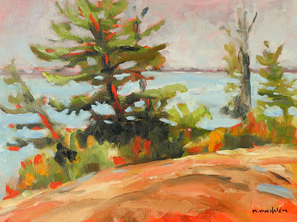landscape painting of trees and water's edge