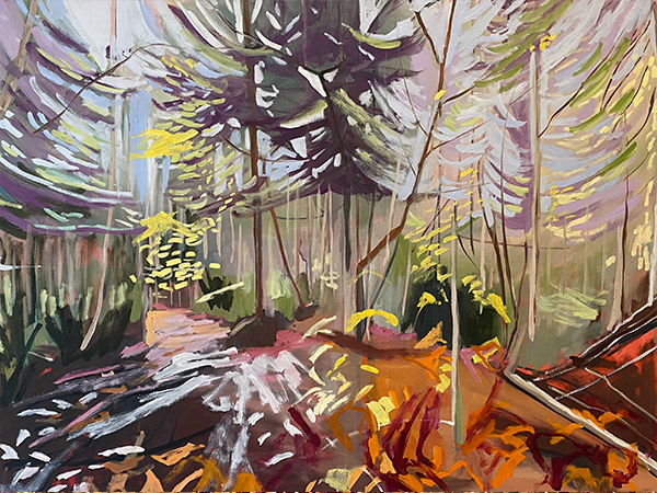 landscape painting of evergreen trees