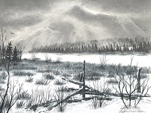 monochromatic drawing of sky and landscape in winter