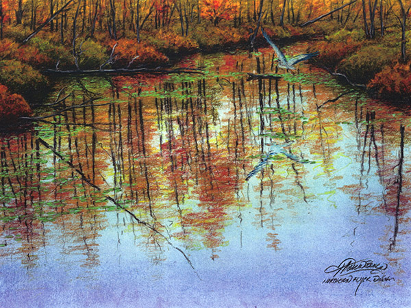 colour pencil drawing of trees reflected in water