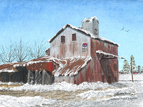 colour pencil drawing of an old mill