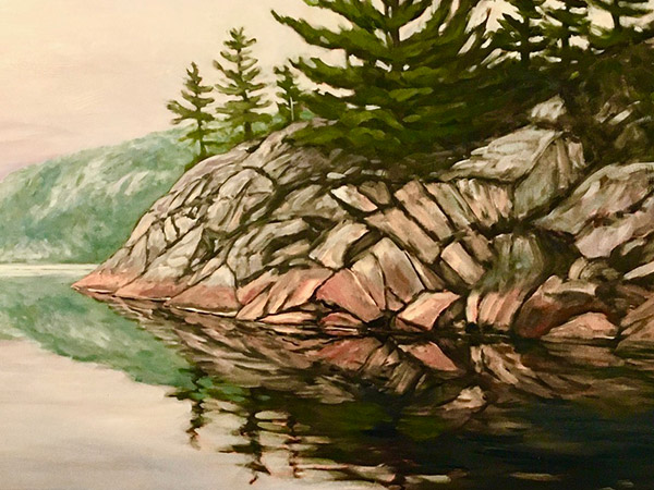painting of lakeshore with rocks and trees.