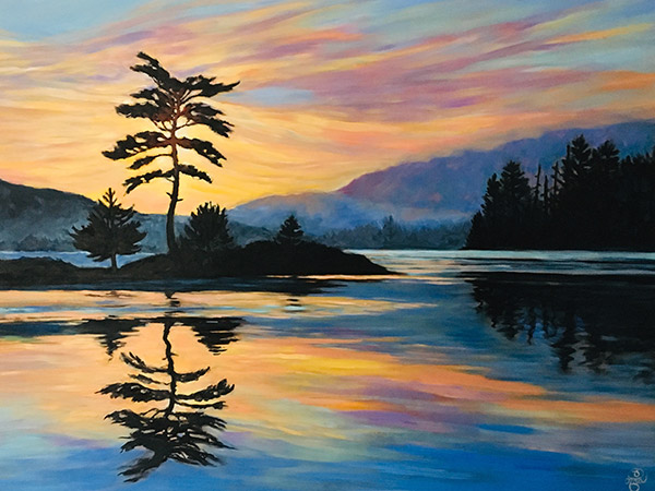 sunset painting with gold colour sky reflected in a lake.