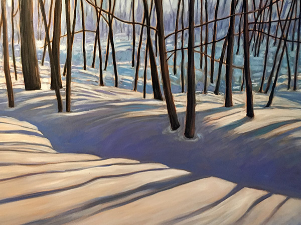 painting of shadows and trees in winter.
