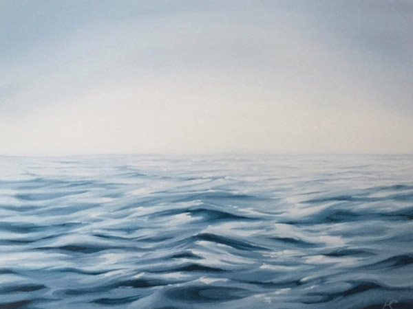 painting of a lake with mist.