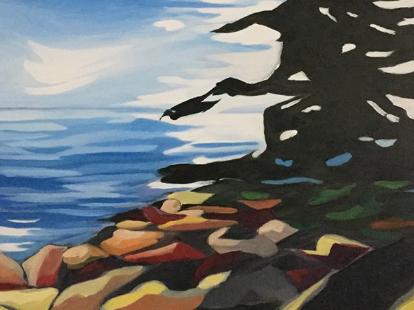 landscape painting of water, trees and rocks.