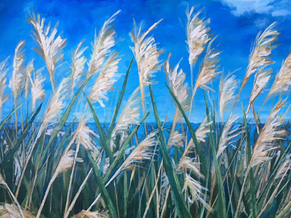 painting of grass with large seed heads