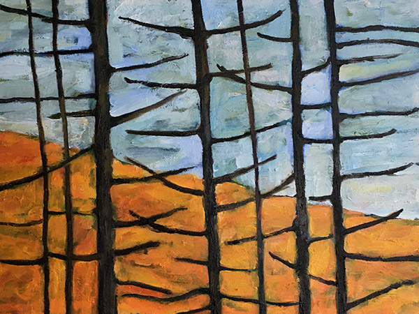 painting of trees with bare branches