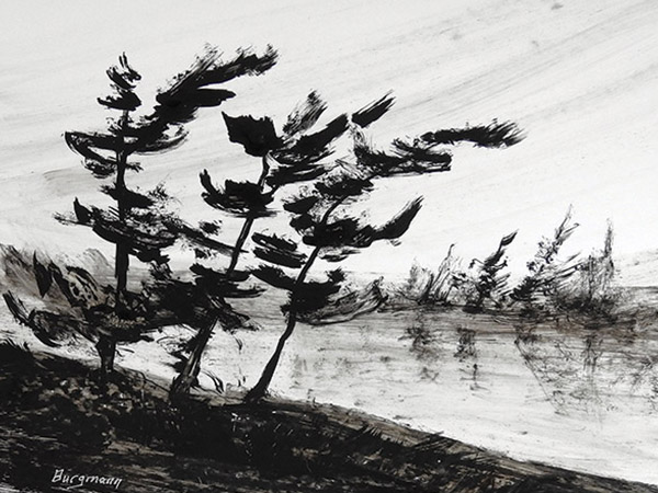 painting of a monotone landscape of trees and lake.