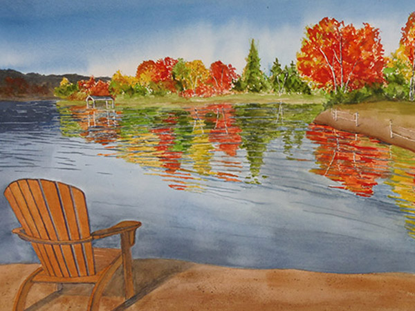 landscape painting of trees, muskoka chair and lake.
