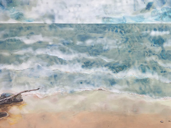 encaustic painting abstract image of water and beach