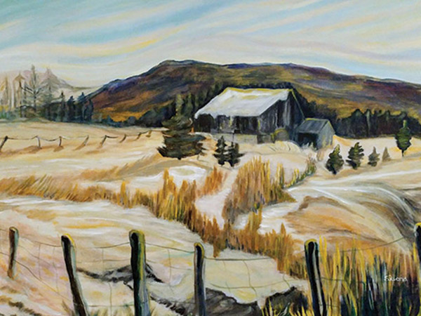 painting of landscape of farm.