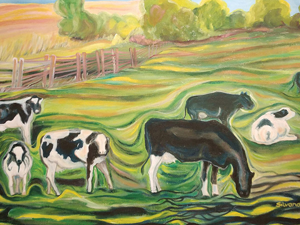 painting of farm field with holstein cows eating grass.