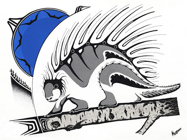 Porcupine artwork in native style with bold blue accent.