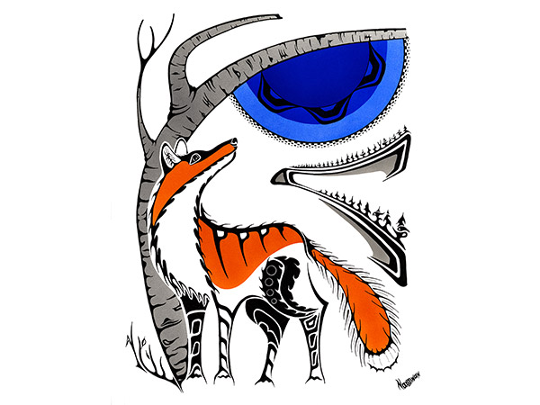 Fox artwork in indigenous style with bold colour blue and orange.