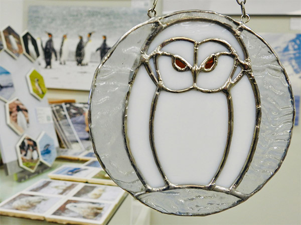 owl stained glass window hanger