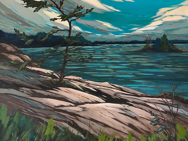 painting of rocky shore and evergreen trees.