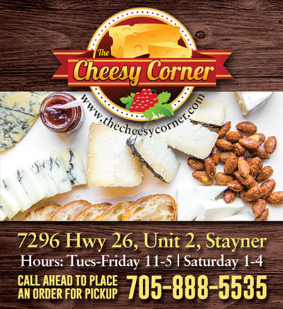 cheesy corner ad showing cheese products.