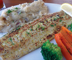 fresh fish dinner at meldrum bay inn and restaurant
