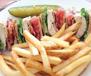 club sandwich with fries at steven's bar-b-q restaurant