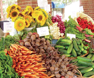 fresh local vegetables at the thornbury farmers' market