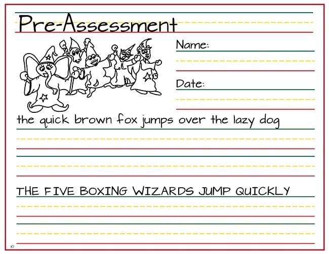 rhythm and writing pre-assessment