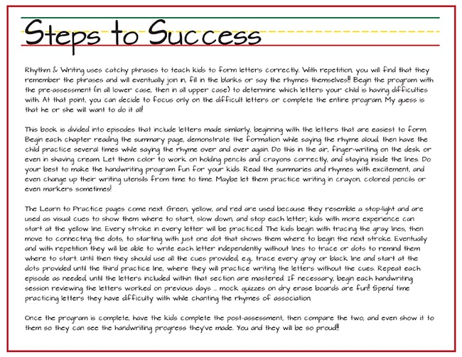 rhythm and writing steps to success