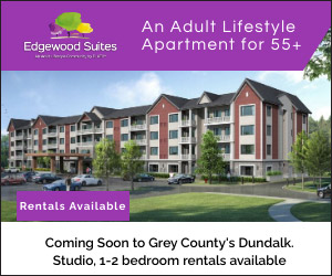 drawing of row of condos, Edgewood Suites ad.