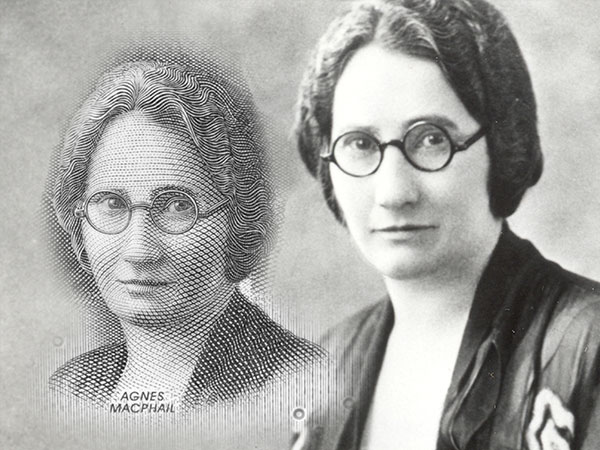 Agnes Macphail black and white photo beside an engraving of her on the 10 dollar bill.
