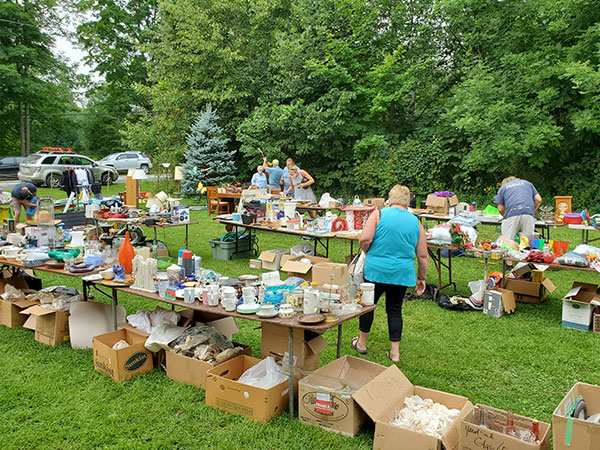 yard sale for fire victims at Highland United Church in Eugenia